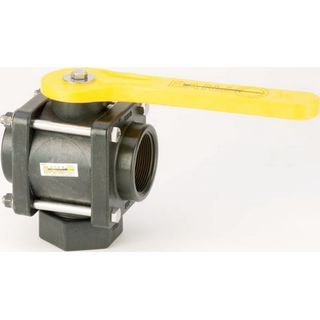 Poly Propylene Bolted Bottom & Side Load 3-Way Ball Valves